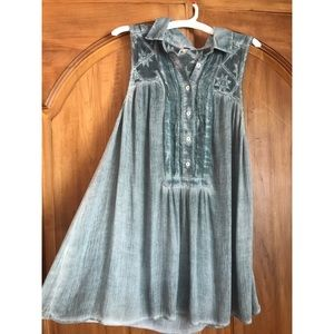 Free People Blue Dress w/ Buttons and Collar Small